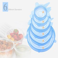 [globalbuy] 6pcs Reusable kitchen Tools Bowl Cover Pan Lid -Premium Stretch Silicone Lids-/3745441