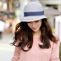 Summer Fashion Women Hawaii Tourism Straw Hat Stripe Bowknot Stripe Sun Hat Foldable Beach Headwear