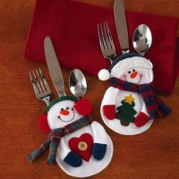[globalbuy] Cute 2pcs Christmas Snowman Xmas Tableware Silverware Suit Decal Dinner Party /3177172