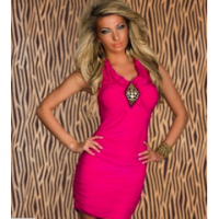 Dress Pink V Neck Stretch Sexy (BS D 03)