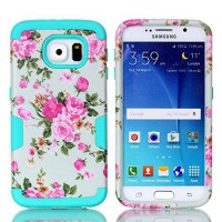 [holiczone] Galaxy S6 Case,HKW(TM) Flowers Pattern Samsung Galaxy S6 Case Full Body Hybrid/1669772