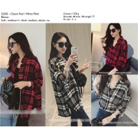 Classic White,Red Plaid Blouse -22202
