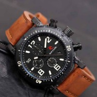 Jam Tangan Pria / Cowok Ripcurl Dooms Leather Light Brown List White