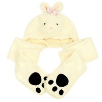 Animal character gloves hat-ribbon rabbit / children toys / stuffed toy character / Winter Accessories / supple / gloves / hat
