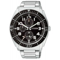 Citizen AP4010 Multifunction Eco-Drive Jam Tangan Pria Hitam Stainless Steel