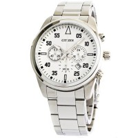 Citizen AN8090 Chronograph Jam Tangan Pria Putih Stainless Steel