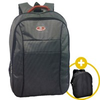 Polo Water Tas Ransel Backpack + Slot Laptop + Rain Cover + Water Resistant - Hitam