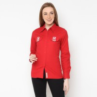 Mobile Power Ladies Basic Long Sleeve Shirt  - Red F8356