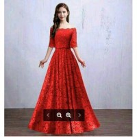 Long Dress Reynata warna Merah