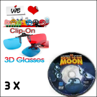Paket Kacamata Polycarbonate Clip On Red/Cyan Film 3D Pack Family 1