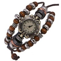 [poledit] SumBonum Jewelry Womens Alloy Leather Rope Surfer Wrap Bracelet Wrist Watch, Vin/14137650