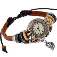 [poledit] SumBonum Jewelry Womens Alloy Leather Rope Surfer Wrap Bracelet Wrist Watch, Vin/14137811