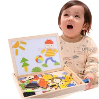 Wooden toys magnetism jigsaw happy puzzle/papan tulis magnetik puzzle