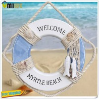 [globalbuy] Wooden Lifebuoy Home Decoration Pine Life Ring Buoy Shape Hanger Adornment Cur/3736382