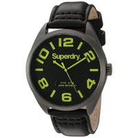 [worldbuyer] Superdry Mens Military Quartz Brass-Plated-Stainless-Steel and Leather Dress /200298