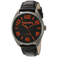 [worldbuyer] Superdry Mens Military Quartz Brass-Plated-Stainless-Steel and Leather Dress /205062