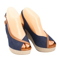 [FREE ONGKIR*] Dr.Kevin Wedges Sandal Canvas 2685 Blue