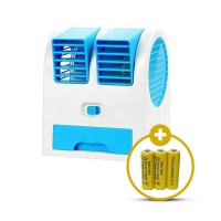 Kokakaa Mini AC Cooling 2 Blower Fan Battery Bundle