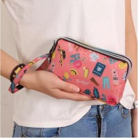 W127 Dompet Wanita HP 3 Resleting Eco Multifungsi Pouch 3 Ruang