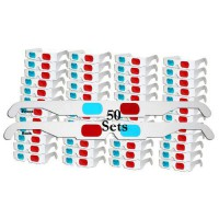 [macyskorea] 3Dstereo Glasses 50 Pairs - FLAT- 3D Glasses Red and Cyan WHITE Frame Anaglyp/10118161