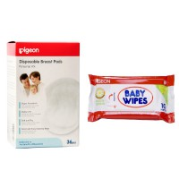 Pigeon Breastpad Isi 36 Pcs - FREE BABY WIPES CHAMOMILE ISI 10'pcs - Penyerap ASI - PP030404