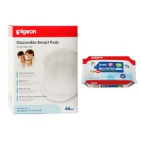 Pigeon Breastpad Isi 66 pcs - FREE Baby Wipes Anti Bacterial Isi 20 pcs