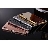 Aluminium Metal Bumper Slide Back Case with Mirror Cover Untuk Sony Xperia M4 / M4 Aqua