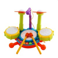 Baby Drum Set - piano + Drum + Microphone usia 3+