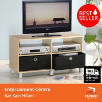 FUNIKA 11156 SBE/BK - Entertainment Centre dengan 2 Rak Kain Hitam