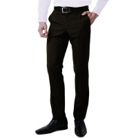 VM Celana Formal Pria Katun High Twiss - Slim Long Pants Simple dan Polos Coklat Tua