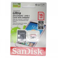 SanDisk Ultra Micro SDHC - 16 GB UHS-I Class 10 (30 MB/s) with SD Card Adapter - Red/Gray