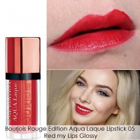 [Bourjois]Rouge Edition Aqua Laque No 05 Red My Lips/Lipstik Cair/Warna Terang/Hasil Semi Glossy