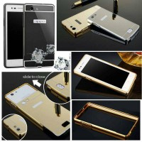 Aluminium Metal Bumper Slide Back Case with Mirror Cover Untuk Oppo Neo 5 Neo5 A31