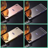 Aluminium Metal Bumper Slide Back Case with Mirror Cover Untuk Sony Xperia Z5