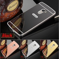 Aluminium Metal Bumper Slide Back Case with Mirror Cover Untuk Lenovo K4 Note A7010