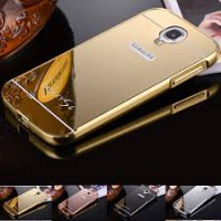 Aluminium Metal Bumper Slide Back Case with Mirror Cover Untuk Samsung S4