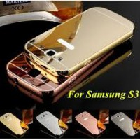 Aluminium Metal Bumper Slide Back Case with Mirror Cover Untuk Samsung S3