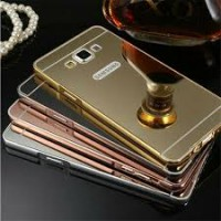 Aluminium Metal Bumper Slide Back Case with Mirror Cover Untuk Samsung J5 2015 Lama