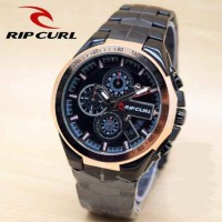 Ripcurl Crono Actif Full Black Ring Gold Color Super