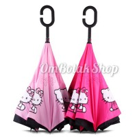 Payung Terbalik Hello Kitty Karakter Sanrio. Reverse Inverted Umbrella