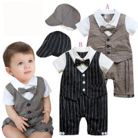 Cool Baby Vest Romper with Hat Grey