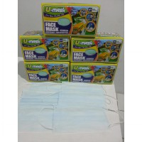 u MASK Masker Basic kesehatan debu, Rider, Suster, nonwoven disposable Warna BIRU/BLUE isi 50pcs/Box