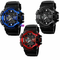 SKMEI - 1117 Black Gray Red Blue Jam Tangan Analog Digital Watch Men Sport Water Resistant AD1117