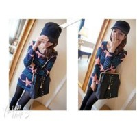 Autumn pattern knitted cotton long-sleeved t bottoming dress was thin package hip # E31