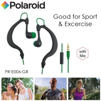 Polaroid earphone sweat proof sports w/ microphone, earhook handsfree stereo headset PRE006-GR