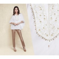 ACCENT - Batwing off white crepe