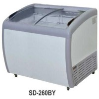 SD-260BY Sliding Curve Glass Freezer/Freezer Kaca Cembung/Glass Door Freezer (260 LITER)-PUTIH