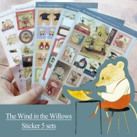 Willow blowing in the wind stickers set of 5 / illustration / stamp type / label type / index type / round / icons / stickers
