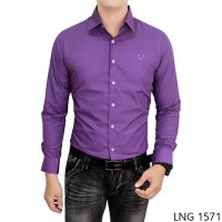Mens Long Sleeve Formal Shirts Katun Ungu – LNG 1571