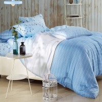 Sleep Buddy Set Sprei dan bed cover blue pattern Organic Cotton king Size